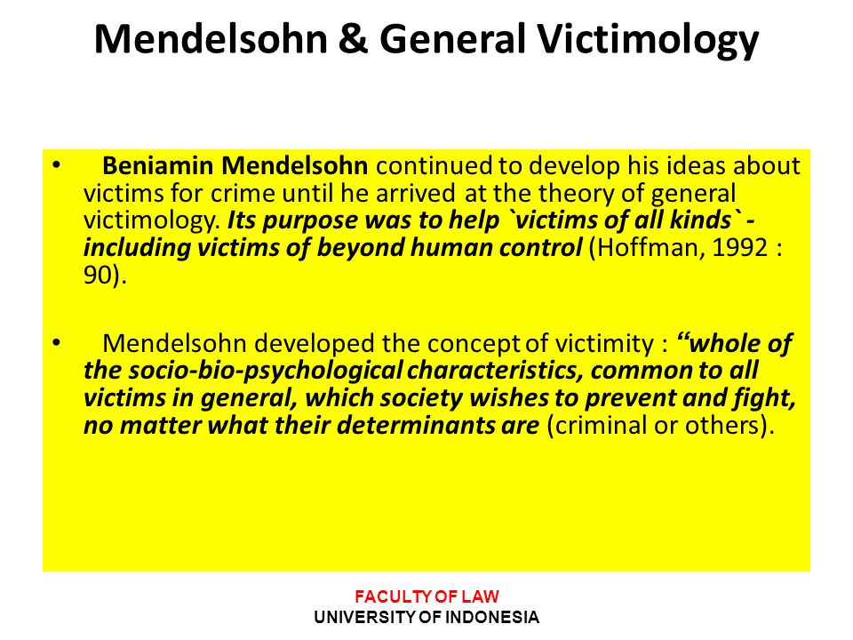 Mendelsohn & General Victimology