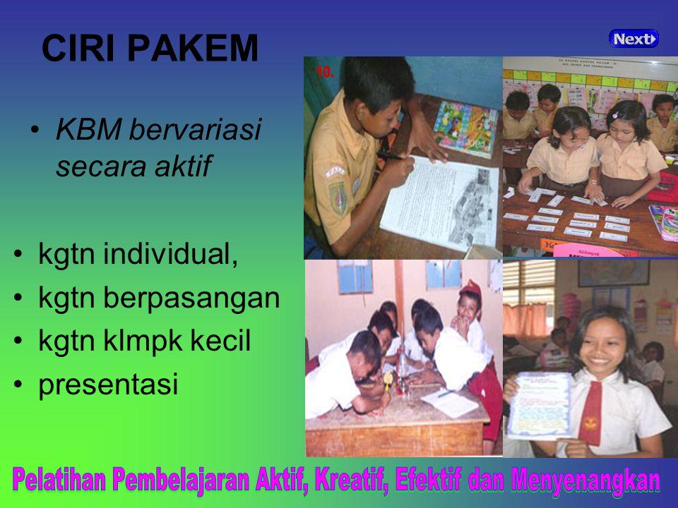 CIRI PAKEM KBM bervariasi secara aktif. kgtn individual, kgtn berpasangan. kgtn klmpk kecil. presentasi.