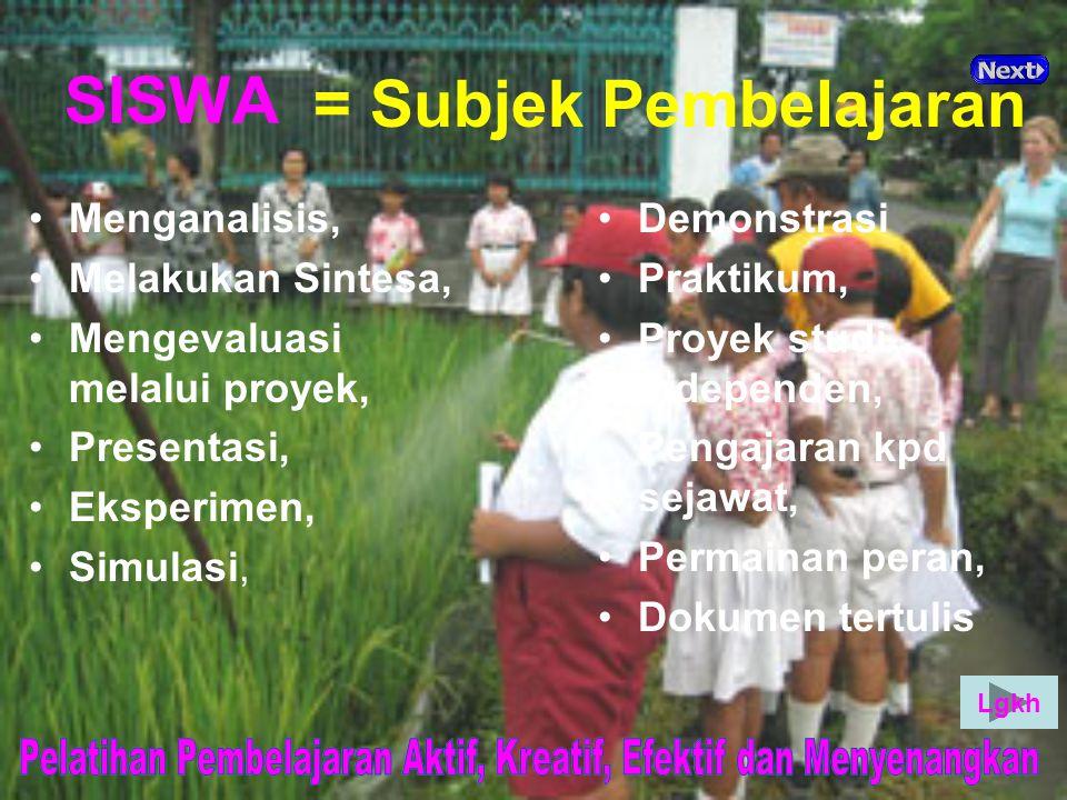 SISWA = Subjek Pembelajaran