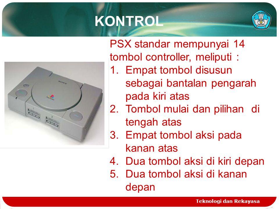 KONTROL PSX standar mempunyai 14 tombol controller, meliputi :