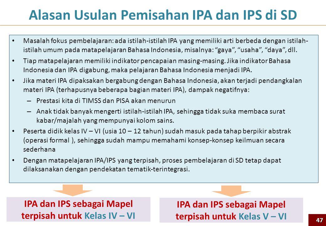 Alasan Usulan Pemisahan IPA dan IPS di SD