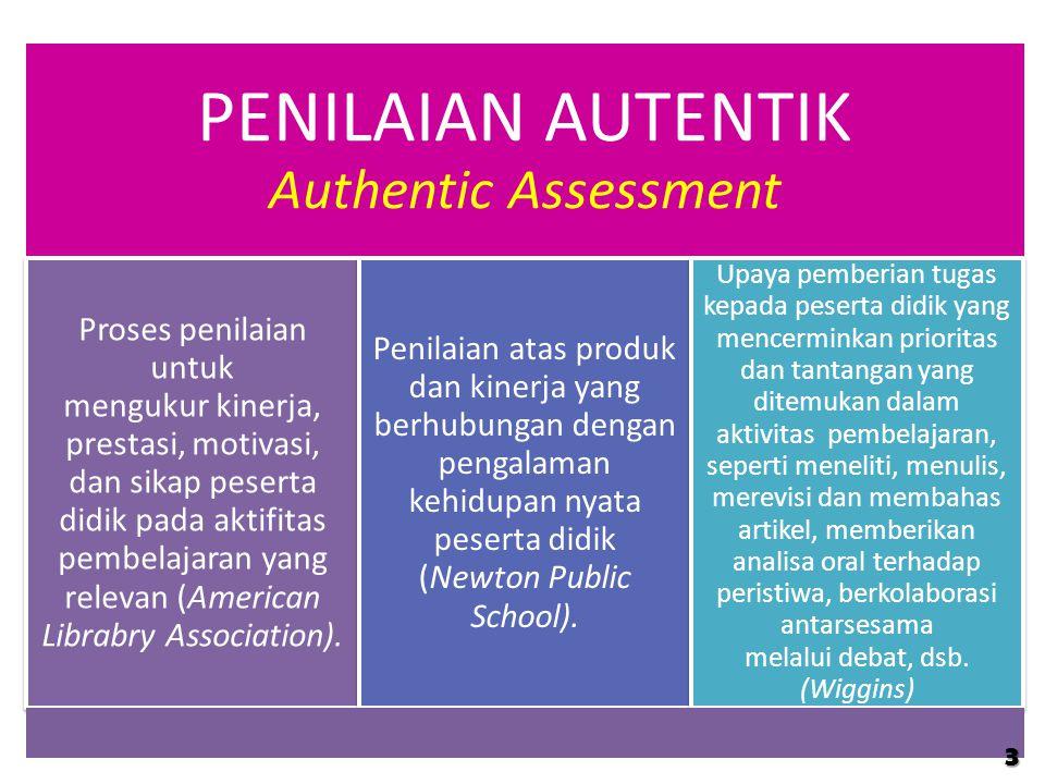 PENILAIAN AUTENTIK Authentic Assessment