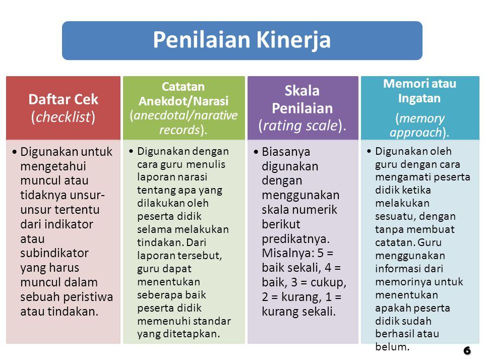 Penilaian Kinerja Skala Penilaian (rating scale).