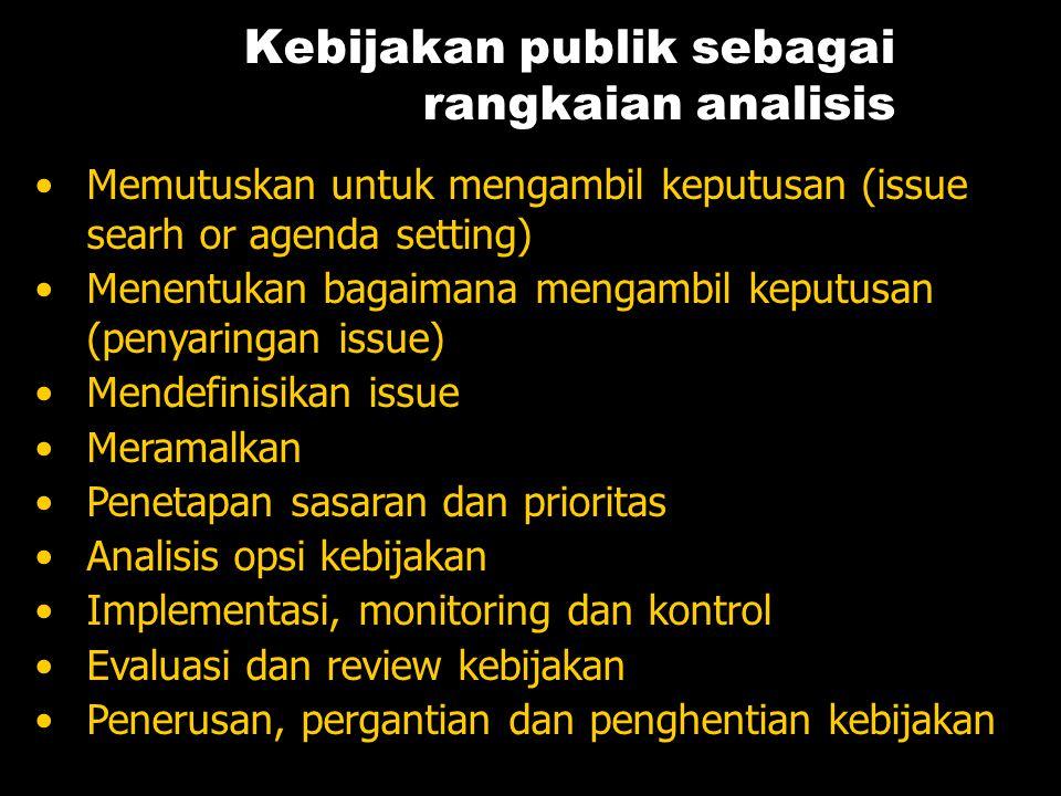 Kebijakan publik sebagai rangkaian analisis