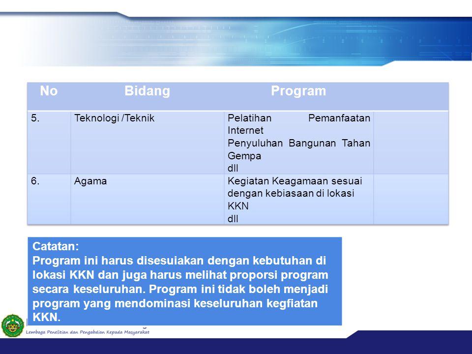 No Bidang Program Catatan: