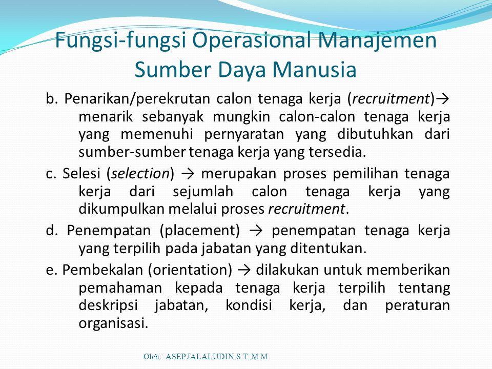 Fungsi-fungsi Operasional Manajemen Sumber Daya Manusia