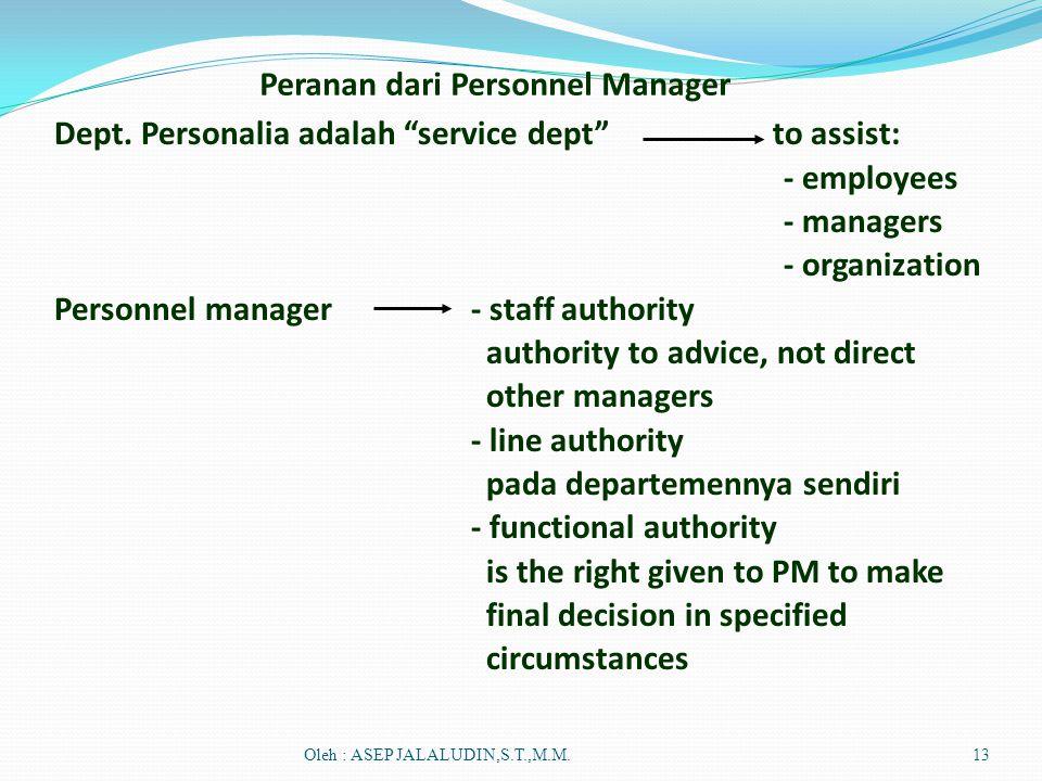 Peranan dari Personnel Manager