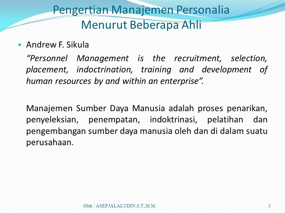 Pengertian Manajemen Personalia Menurut Beberapa Ahli
