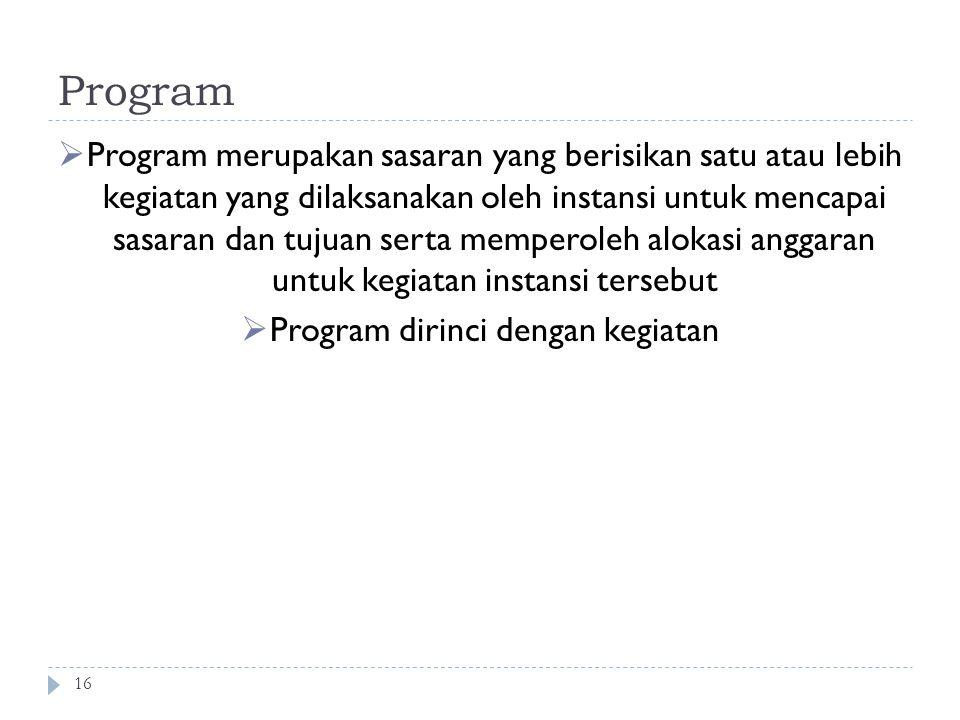 Program dirinci dengan kegiatan