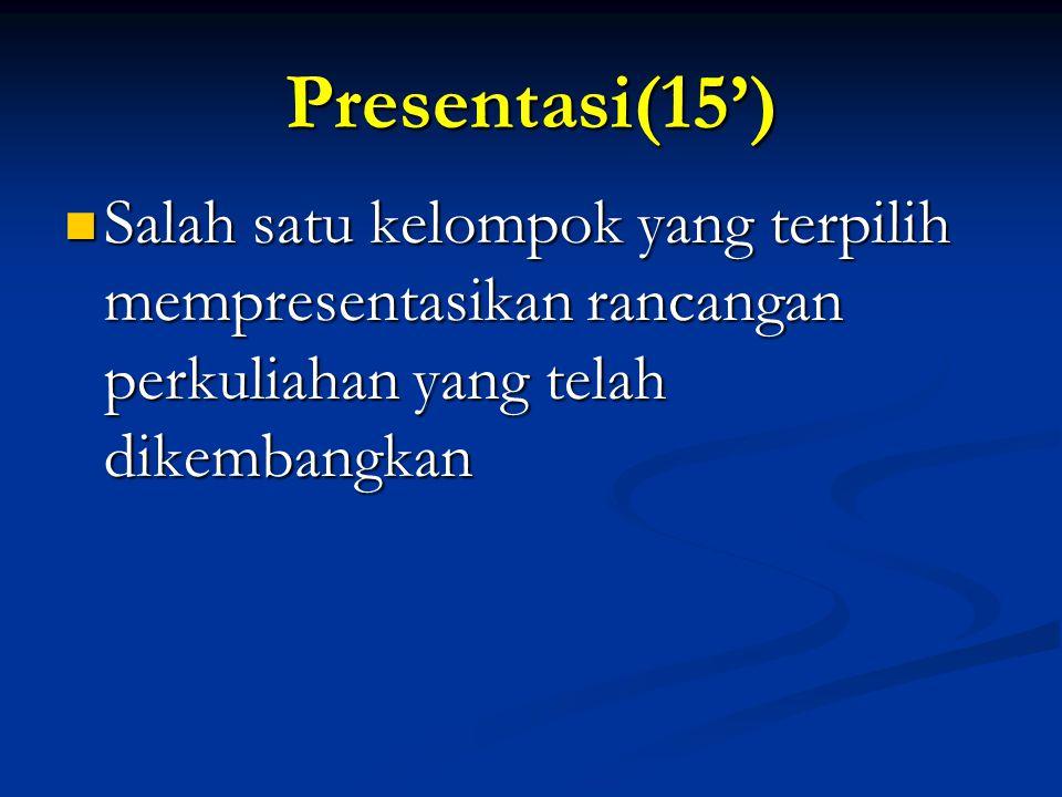 Presentasi(15') Salah satu kelompok yang terpilih mempresentasikan rancangan perkuliahan yang telah dikembangkan.