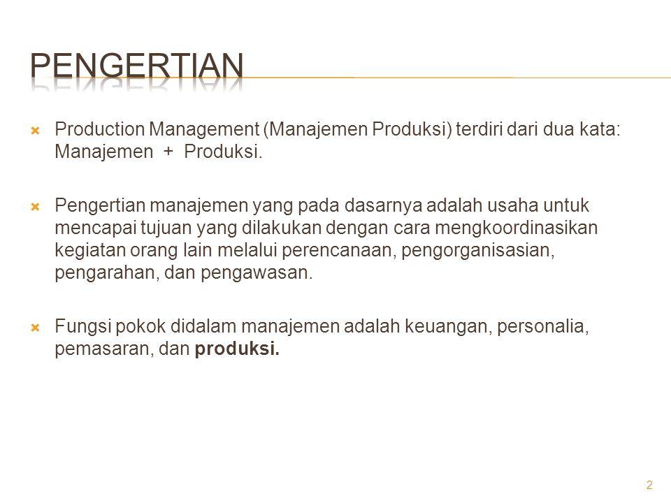 Pengertian Production Management (Manajemen Produksi) terdiri dari dua kata: Manajemen + Produksi.