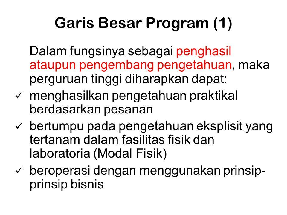 Garis Besar Program (1) Dalam fungsinya sebagai penghasil ataupun pengembang pengetahuan, maka perguruan tinggi diharapkan dapat: