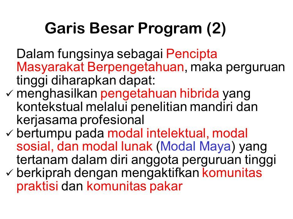Garis Besar Program (2) Dalam fungsinya sebagai Pencipta Masyarakat Berpengetahuan, maka perguruan tinggi diharapkan dapat: