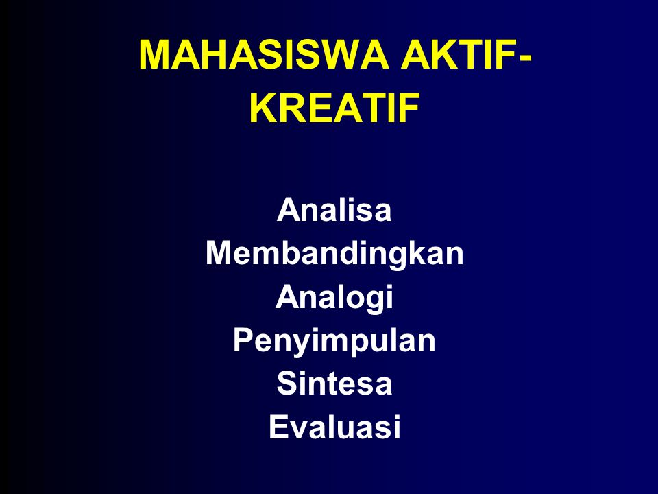 MAHASISWA AKTIF-KREATIF Analisa Membandingkan Analogi Penyimpulan Sintesa Evaluasi