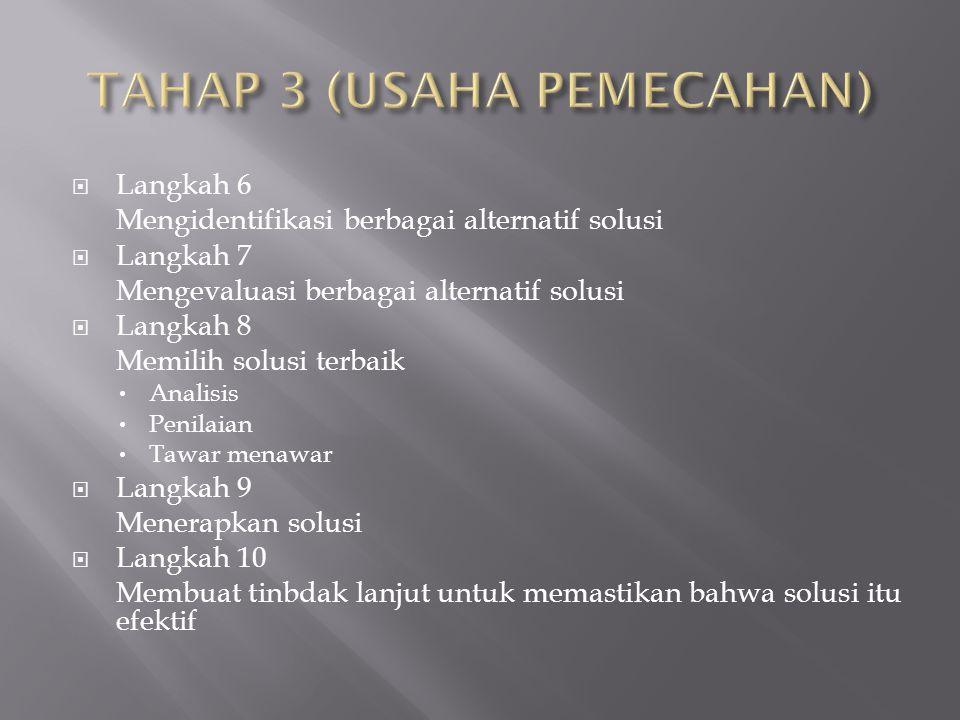 TAHAP 3 (USAHA PEMECAHAN)
