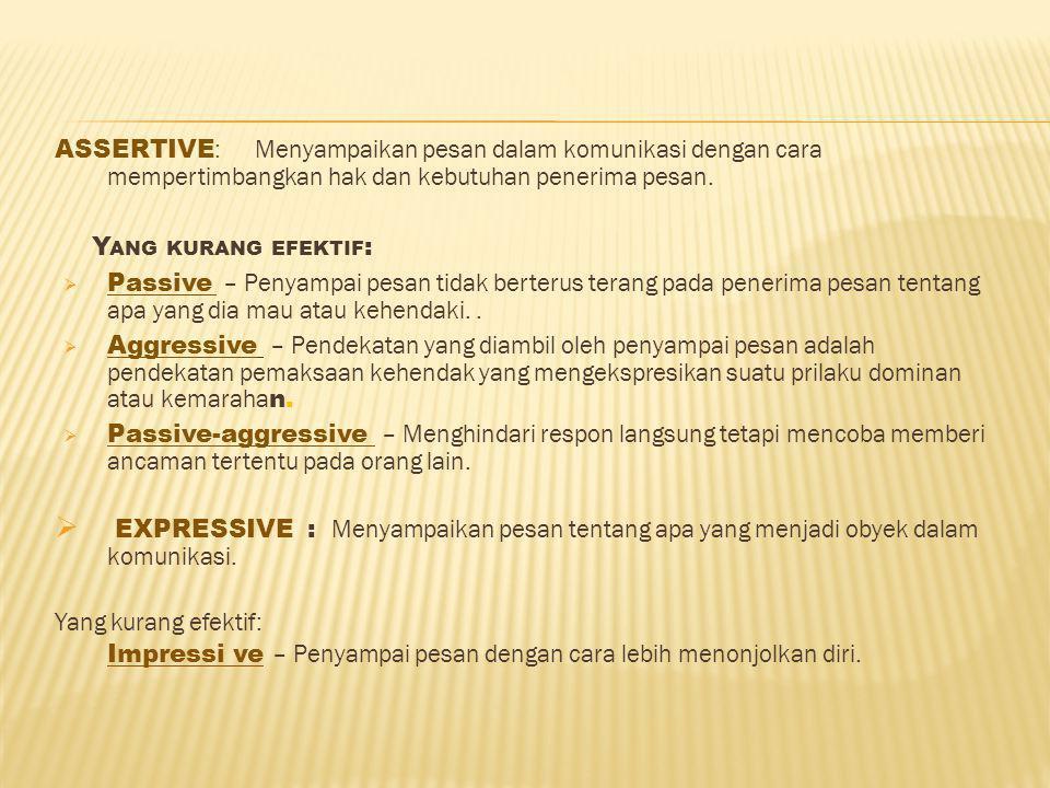 Assertive: Menyampaikan pesan dalam komunikasi dengan cara mempertimbangkan hak dan kebutuhan penerima pesan.