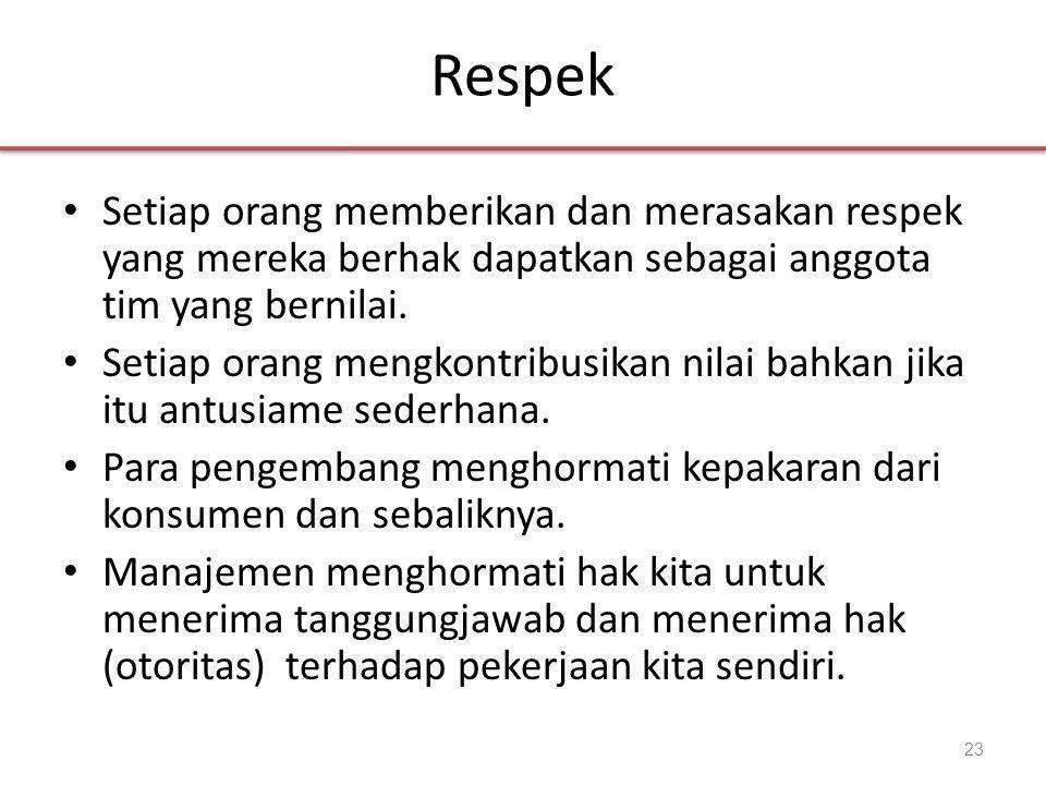 Respek Setiap orang memberikan dan merasakan respek yang mereka berhak dapatkan sebagai anggota tim yang bernilai.