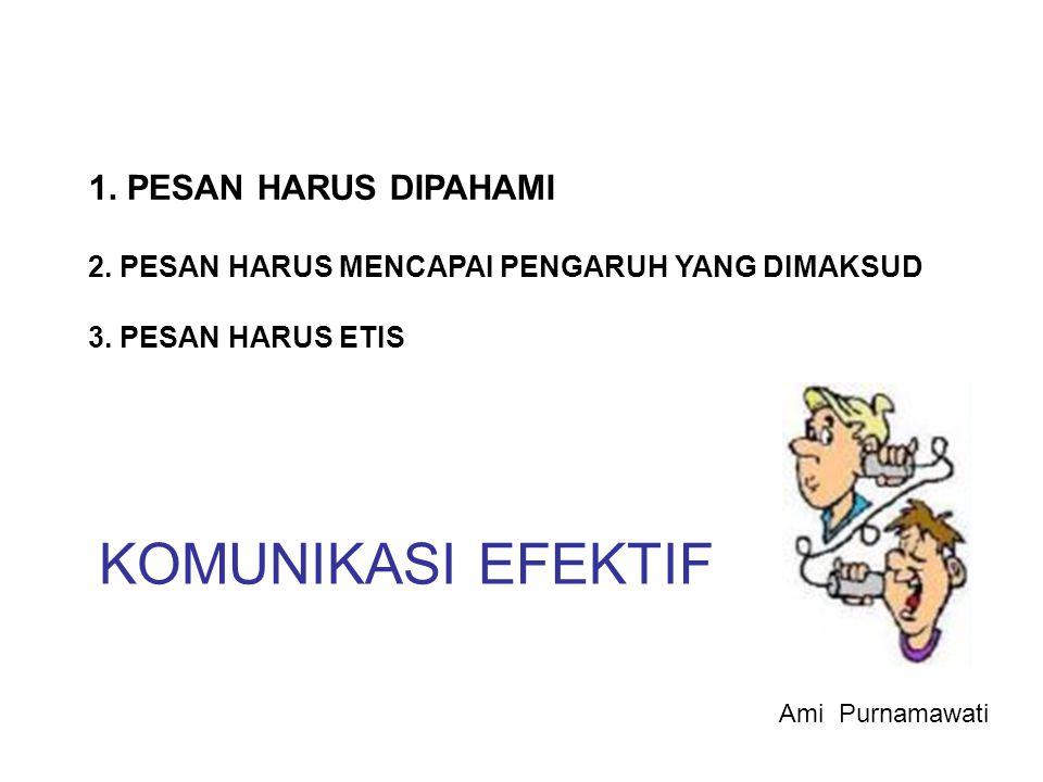 KOMUNIKASI EFEKTIF 1. PESAN HARUS DIPAHAMI