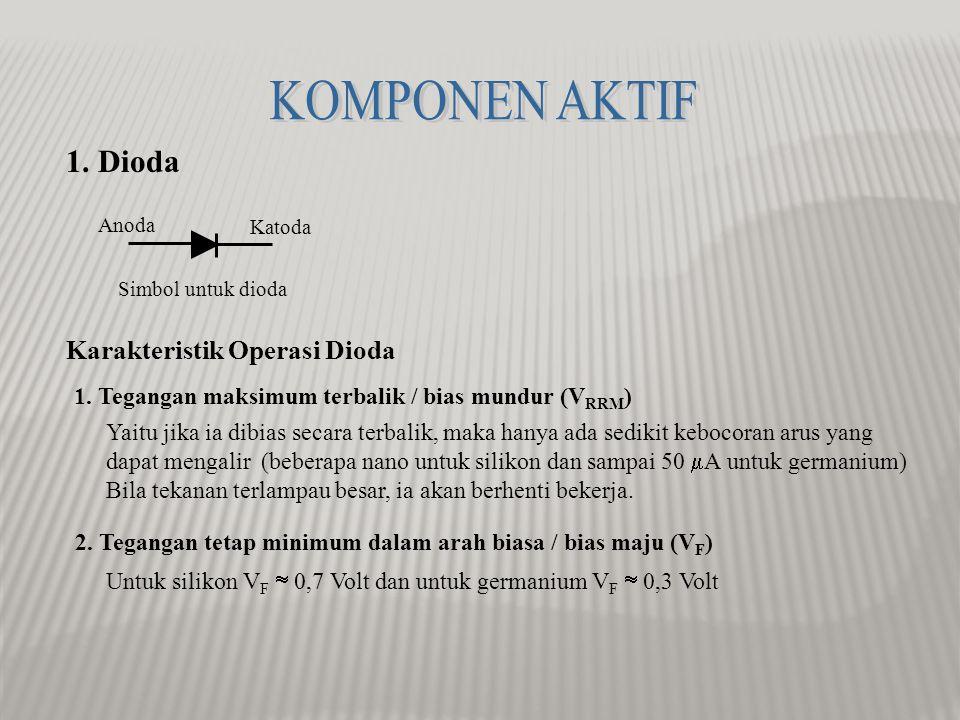 KOMPONEN AKTIF 1. Dioda Karakteristik Operasi Dioda