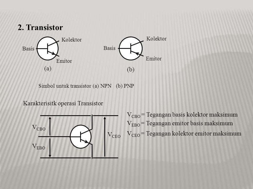 2. Transistor (a) (b) Karakterisitk operasi Transistor
