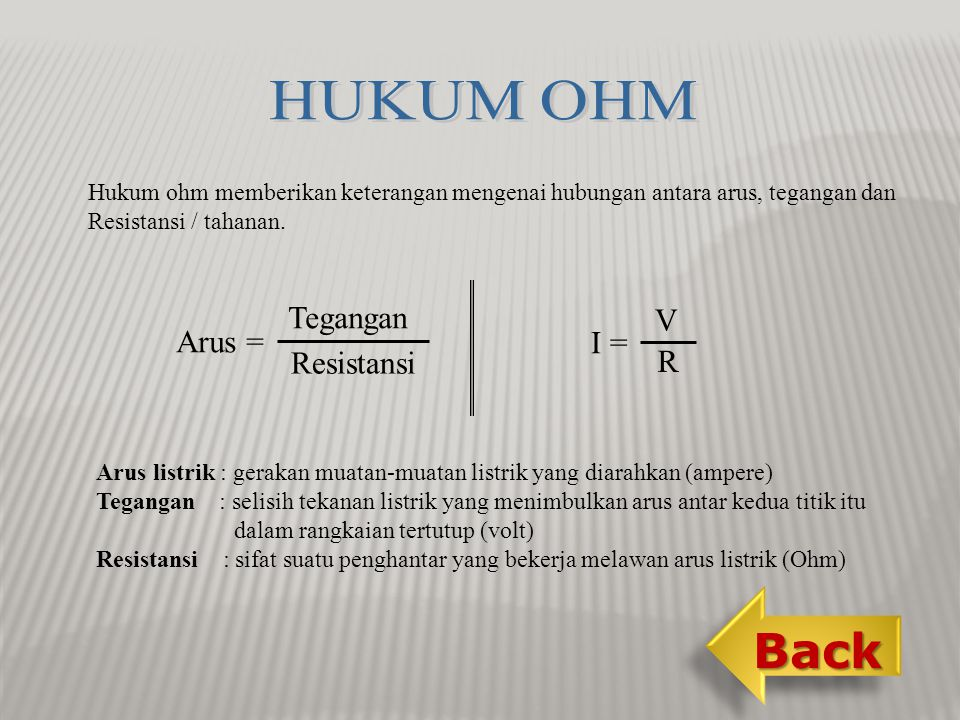 HUKUM OHM Back Tegangan V Arus = I = Resistansi R