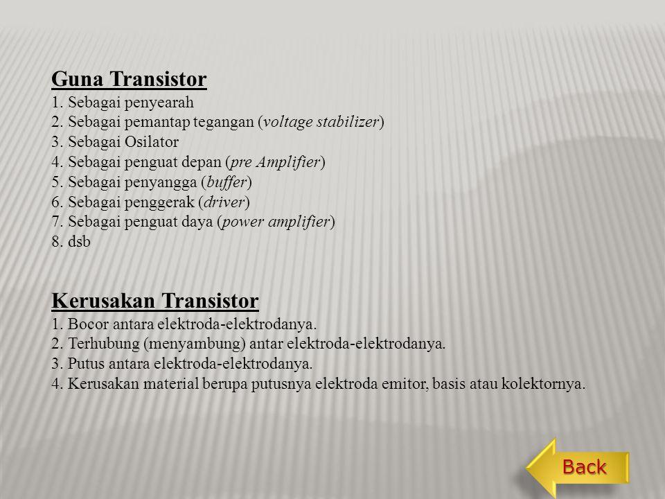 Guna Transistor Kerusakan Transistor Back 1. Sebagai penyearah