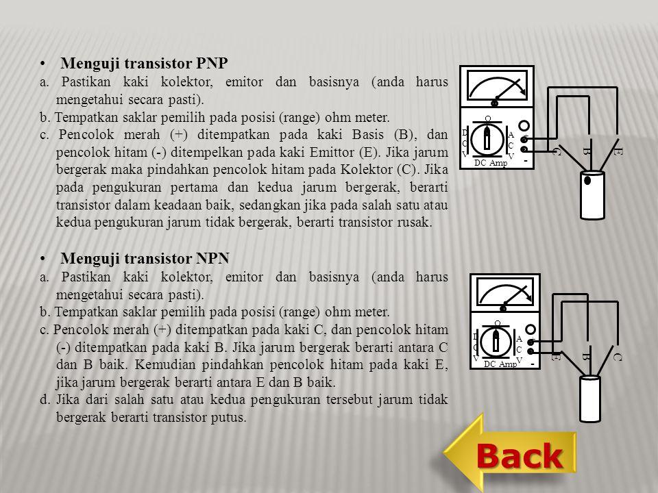 Back Menguji transistor PNP Menguji transistor NPN