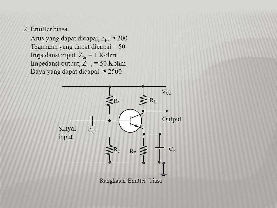 Arus yang dapat dicapai, hFE  200 Tegangan yang dapat dicapai = 50
