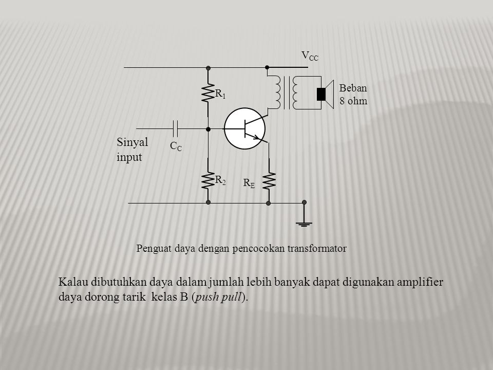 daya dorong tarik kelas B (push pull).