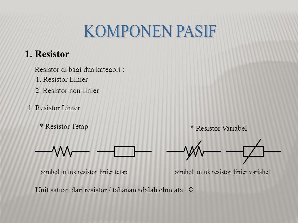 KOMPONEN PASIF 1. Resistor Resistor di bagi dua kategori :