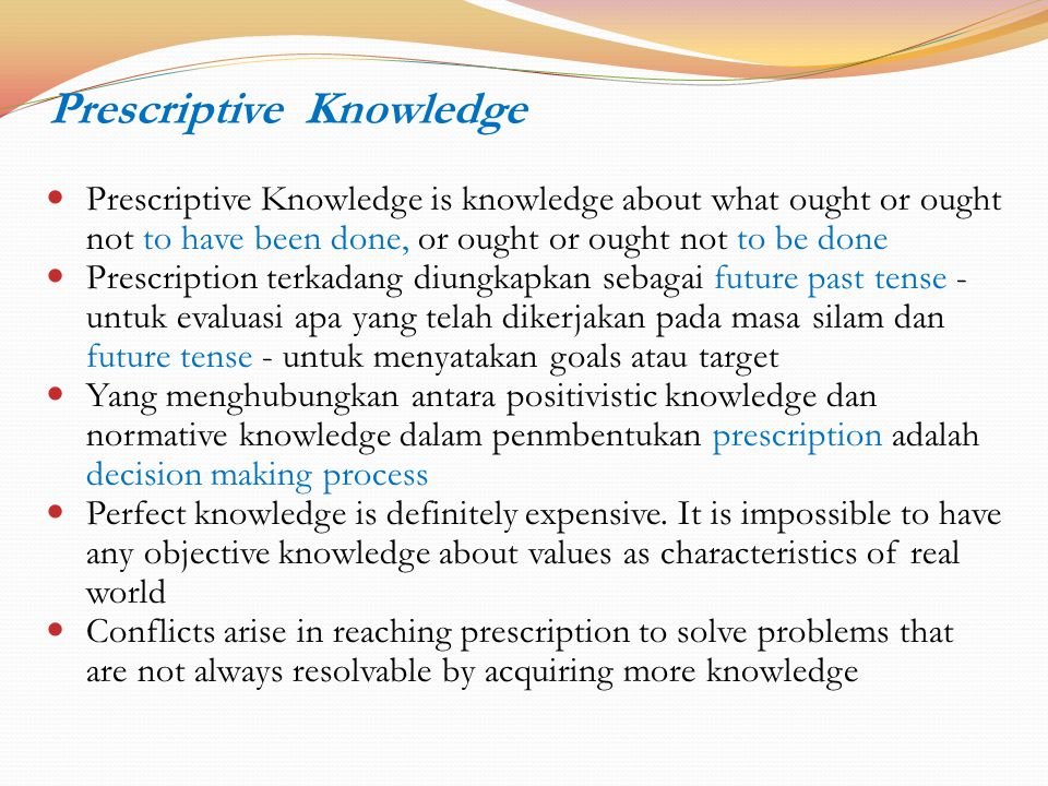 Prescriptive Knowledge