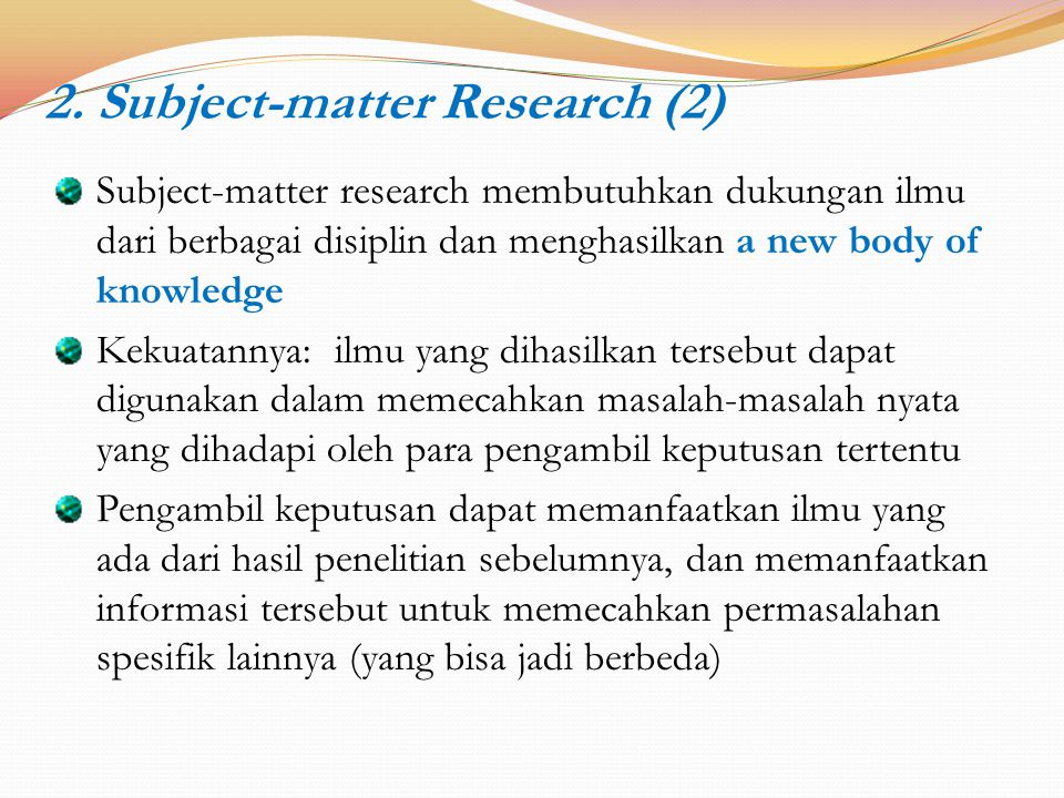 2. Subject-matter Research (2)