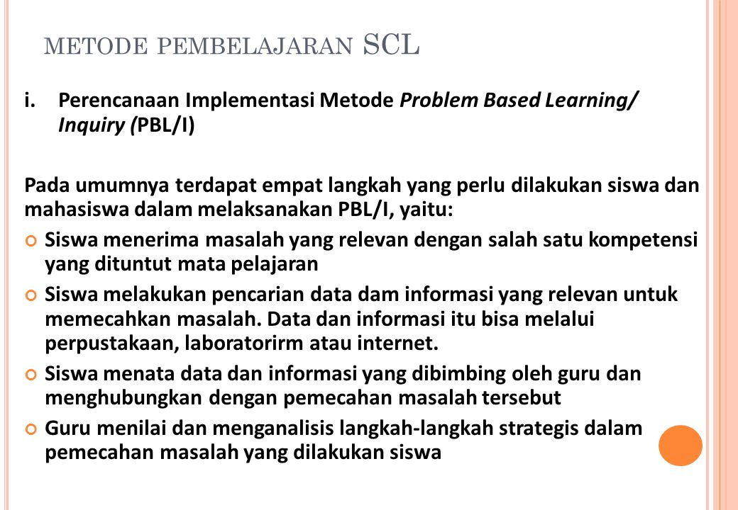 metode pembelajaran SCL