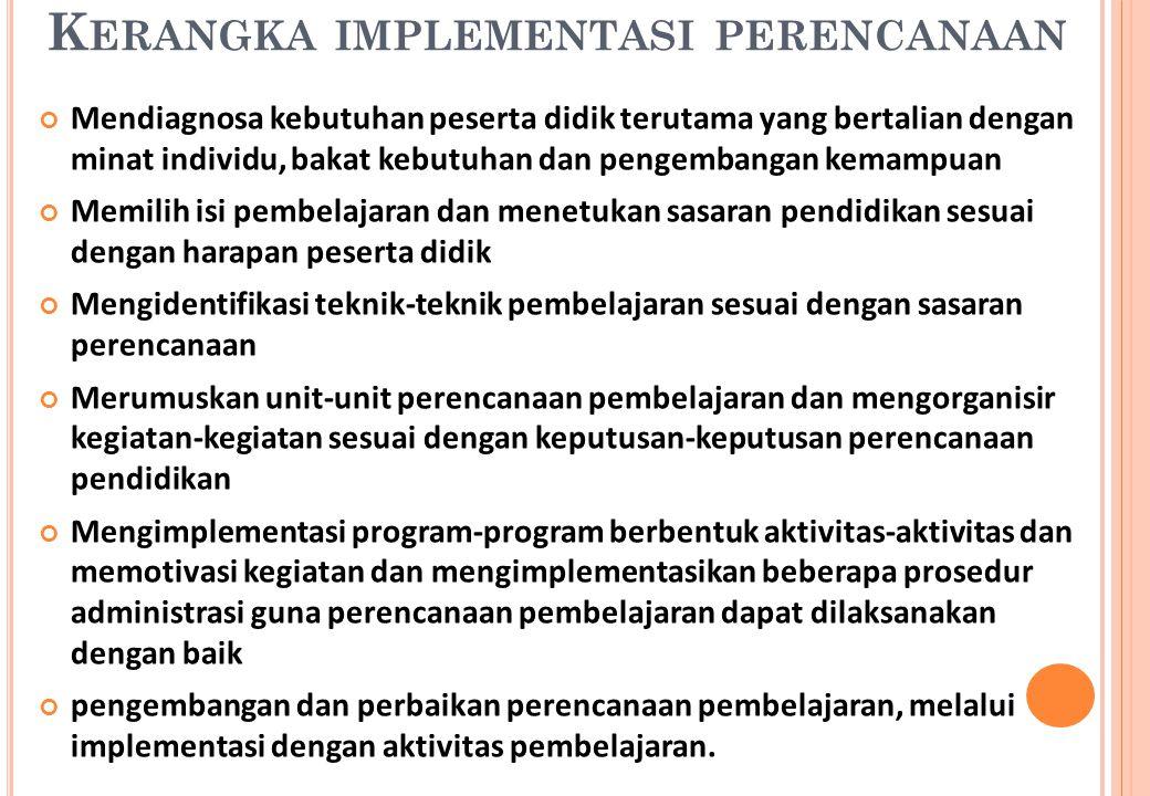 Kerangka implementasi perencanaan
