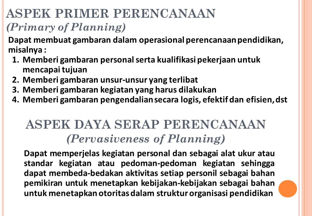 ASPEK DAYA SERAP PERENCANAAN (Pervasiveness of Planning)