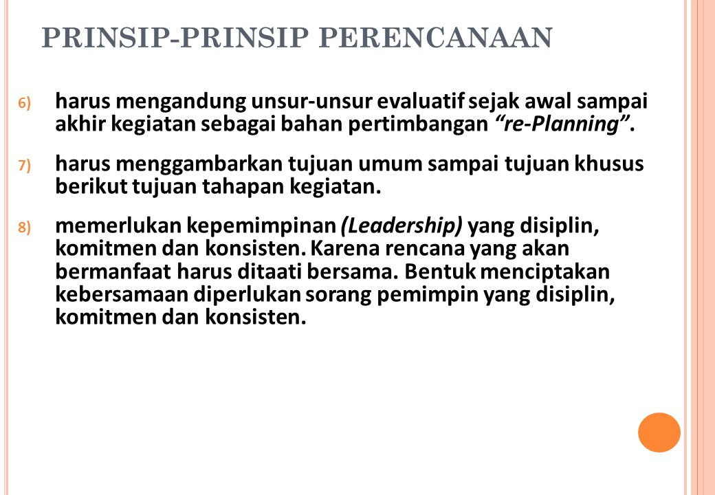 PRINSIP-PRINSIP PERENCANAAN