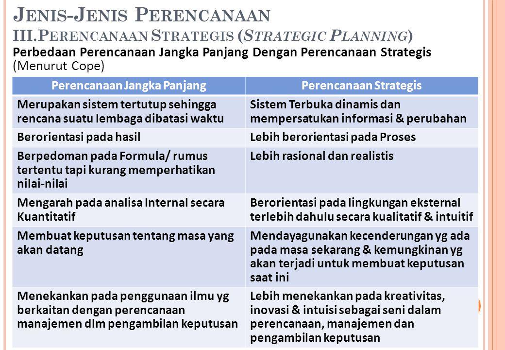 Perencanaan Jangka Panjang Perencanaan Strategis