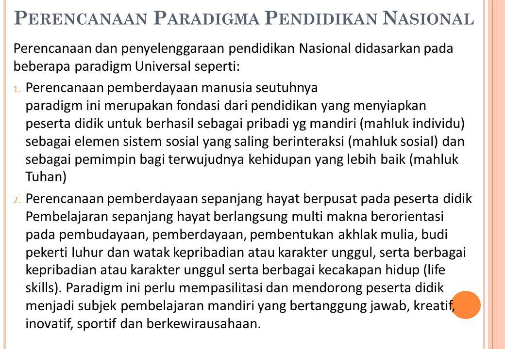 Perencanaan Paradigma Pendidikan Nasional