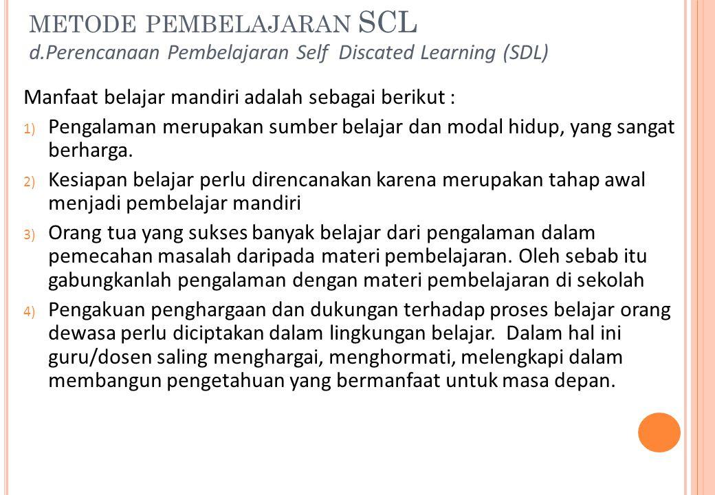 metode pembelajaran SCL d