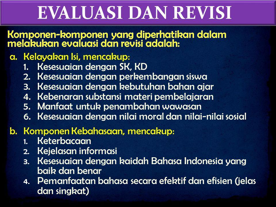 EVALUASI DAN REVISI Komponen-komponen yang diperhatikan dalam melakukan evaluasi dan revisi adalah: