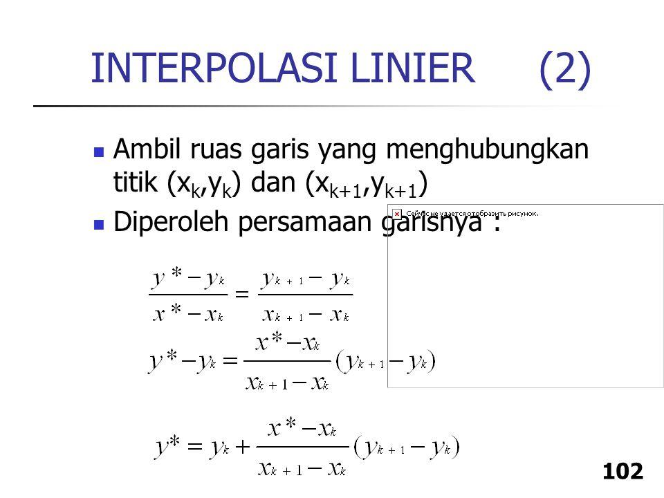 INTERPOLASI LINIER (2) Ambil ruas garis yang menghubungkan titik (xk,yk) dan (xk+1,yk+1) Diperoleh persamaan garisnya :
