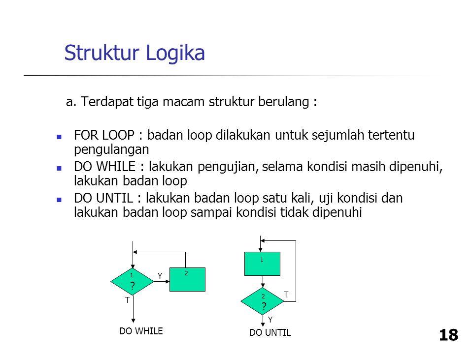 Struktur Logika a. Terdapat tiga macam struktur berulang :