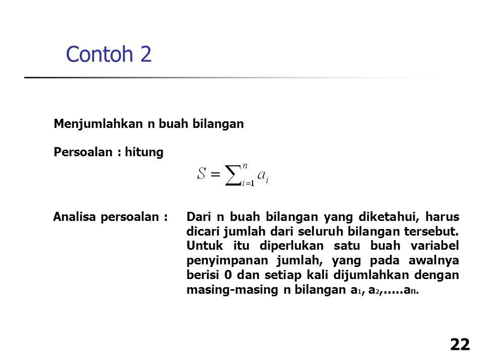 Contoh 2 Menjumlahkan n buah bilangan Persoalan : hitung