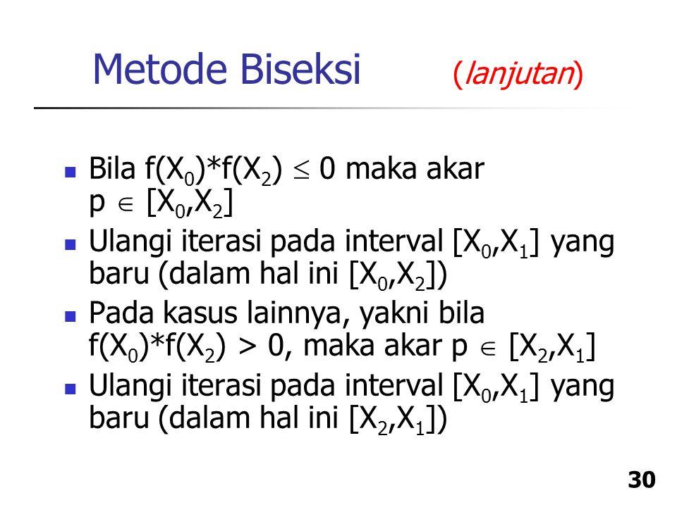 Metode Biseksi (lanjutan)