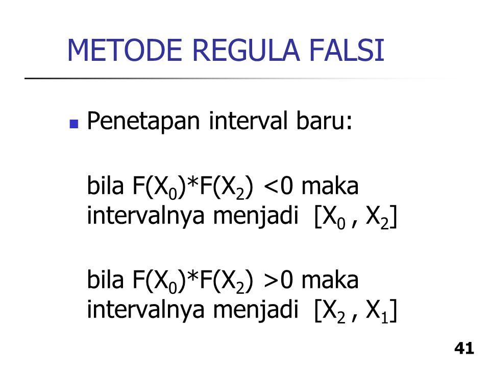 METODE REGULA FALSI Penetapan interval baru: