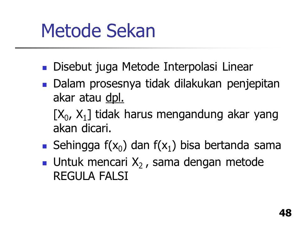 Metode Sekan Disebut juga Metode Interpolasi Linear