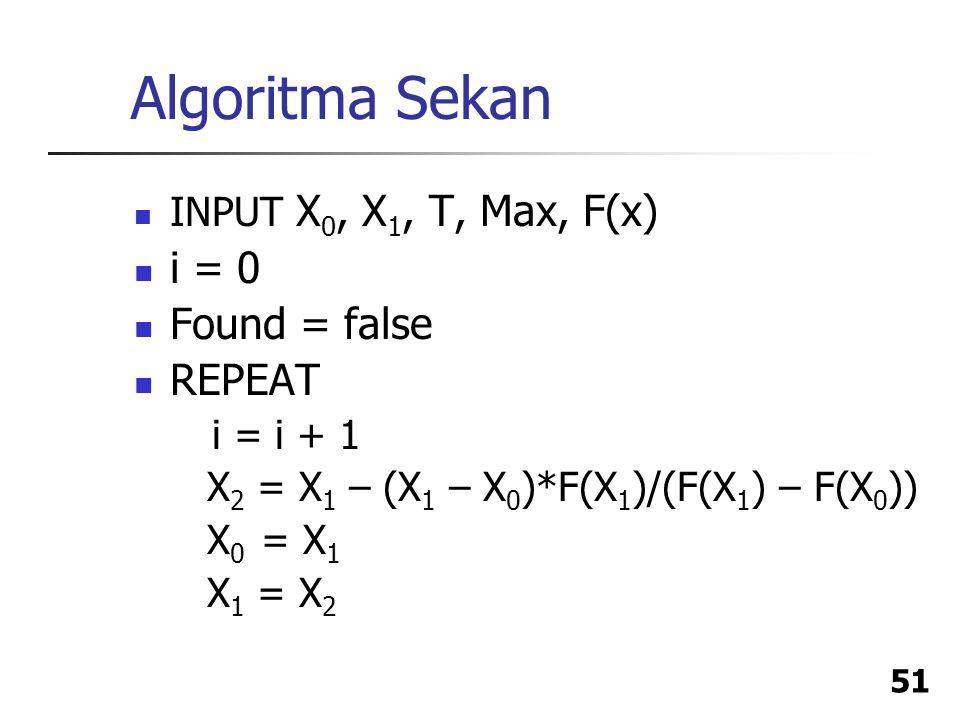 Algoritma Sekan i = 0 Found = false REPEAT INPUT X0, X1, T, Max, F(x)