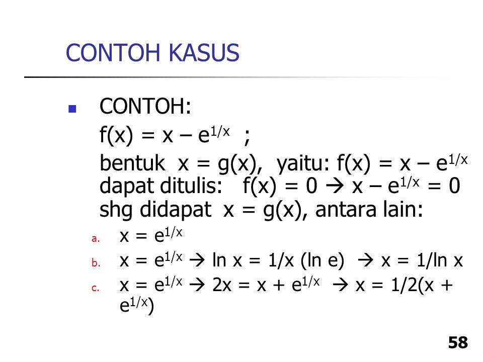 CONTOH KASUS CONTOH: f(x) = x – e1/x ;