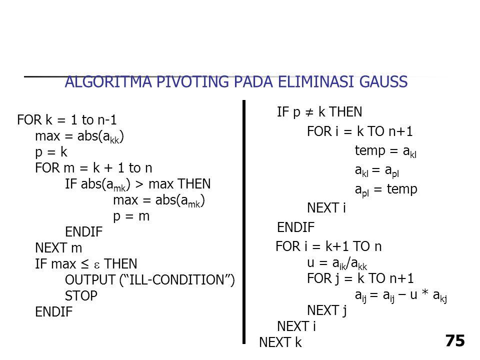 ALGORITMA PIVOTING PADA ELIMINASI GAUSS