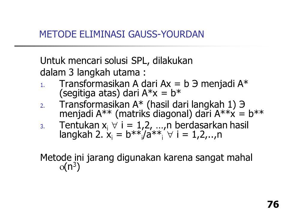 METODE ELIMINASI GAUSS-YOURDAN